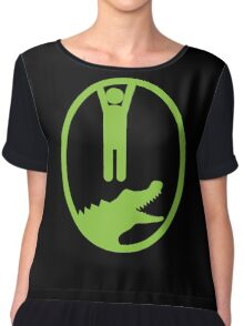 Man hanging getting away from and Alligator or Crocodile Chiffon Top