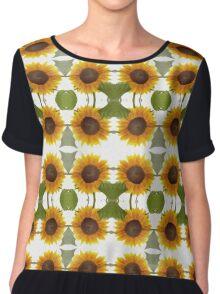 Impressionist Mirrored Sunflower Chiffon Top