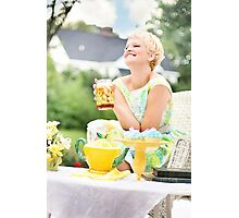 Blonde woman at a party food Photographic Print