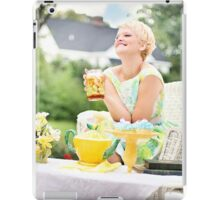 Blonde woman at a party food iPad Case/Skin