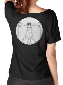 LEONARDO, Da Vinci, The Vitruvian Man, Naked, CIRCLE, c.1485, Accademia, Venice, BLACK Women's Relaxed Fit T-Shirt