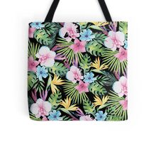 Tropical Vintage Floral on Black Tote Bag
