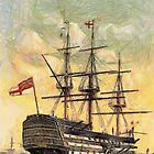 """A digital painting of  The """"Victory"""" (Nelson's Flagship) Portsmouth, England by Dennis Melling"""