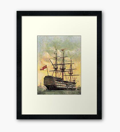 "A digital painting of  The ""Victory"" (Nelson's Flagship) Portsmouth, Hampshire, England 19th century Framed Print"
