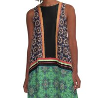 Mixed Print Patterns Mandala Tile and Stripes A-Line Dress