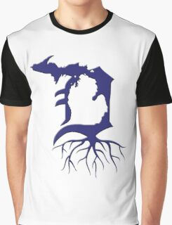 Detroit Michigan Roots - Blue Graphic T-Shirt