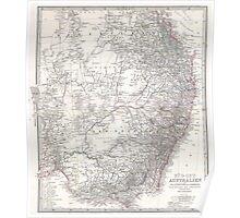 Vintage Map of Eastern Australia (1876) Poster