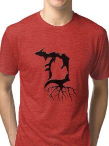 Detroit Michigan Roots - Black Tri-blend T-Shirt