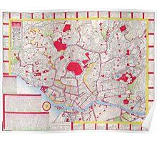 Vintage Map of Tokyo Japan (1880)  Poster