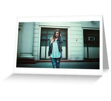 girl in leather jacket Greeting Card