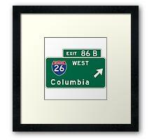 Columbia, Road Sign, MO Framed Print