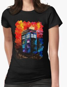 Tardis Painting Womens Fitted T-Shirt
