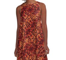 Vibrant Red Flowers Pattern A-Line Dress