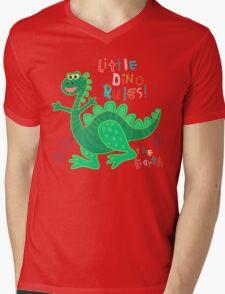 Little Dino rules the Earth Mens V-Neck T-Shirt