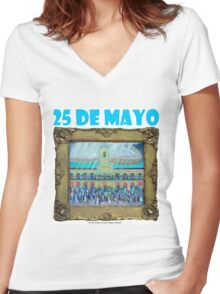 25 de mayo de 1810 III , por Diego Manuel Women's Fitted V-Neck T-Shirt