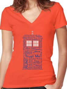 Doctor Who TARDIS quotes Women's Fitted V-Neck T-Shirt