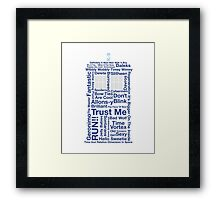 Doctor Who TARDIS quotes Framed Print