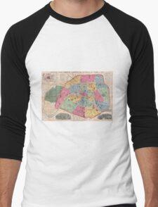 Vintage Map of Paris France (1889) Men's Baseball ¾ T-Shirt