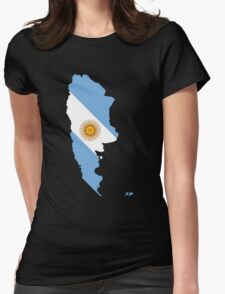 Argentina Flag Map Womens Fitted T-Shirt