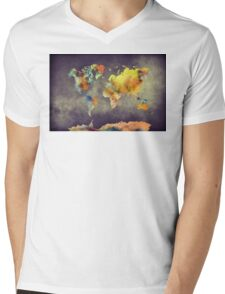 World map 2077 Mens V-Neck T-Shirt