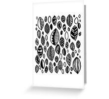 Hand drawn leaf pattern, nature inspired, handmade, drawing, painting, leaves, black and white Greeting Card