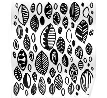 Hand drawn leaf pattern, nature inspired, handmade, drawing, painting, leaves, black and white Poster