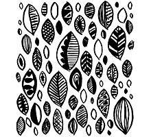 Hand drawn leaf pattern, nature inspired, handmade, drawing, painting, leaves, black and white Photographic Print