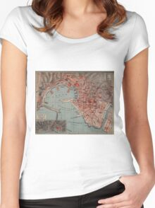 Vintage Map of Genoa Italy (1894) Women's Fitted Scoop T-Shirt