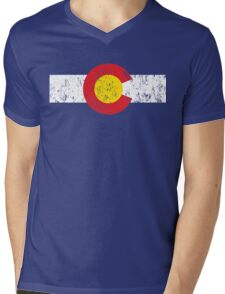 Vintage Colorado Flag Mens V-Neck T-Shirt