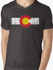 Vintage Colorado Flag Mens V-Neck T-Shirt