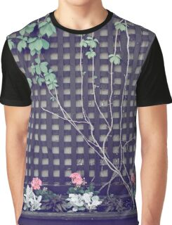 Summer Vine and Flowers on Black Wooden Grid Graphic T-Shirt