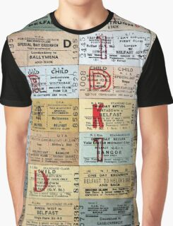 1960s-70S  'FORMAL'  NORTHERN IRELAND RAILWAY TICKET CUSHION Graphic T-Shirt