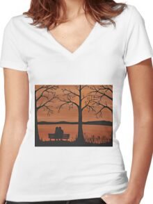 Couple sitting on a bench Women's Fitted V-Neck T-Shirt