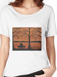 Couple sitting on a bench Women's Relaxed Fit T-Shirt