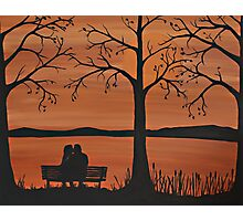 Couple sitting on a bench Photographic Print