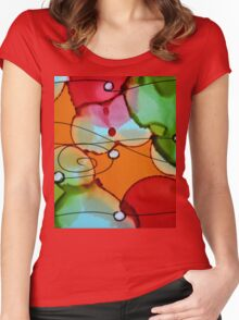 Colorful Abstract Women's Fitted Scoop T-Shirt