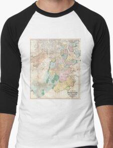Vintage Map of Boston Massachusetts (1896) Men's Baseball ¾ T-Shirt