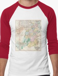 Vintage Map of Boston Massachusetts (1896) Men's Baseball ¾ T-Shirt