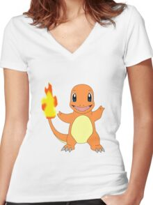 Charmander - Pokemon Women's Fitted V-Neck T-Shirt