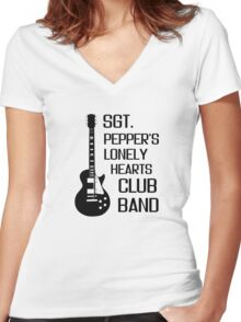 Sgt Pepper Lonely Hearts Club Band Beatles Lyrics Women's Fitted V-Neck T-Shirt