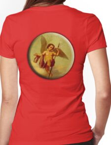 Angel, Angelology, Protection, Cherub, flying with Spear, Church, St Petersburg Russia. Womens Fitted T-Shirt