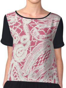 Vintage Abstract White Lace on Girly Pink Chiffon Top