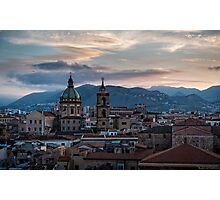 Evening falls over Palermo Photographic Print