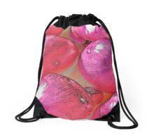 Rainbow Confetti Red Onions Drawstring Bag