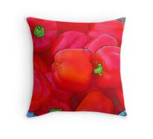 Farmers Market: Red Peppers Throw Pillow