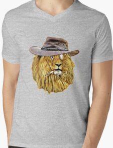 Funny Lion Mens V-Neck T-Shirt