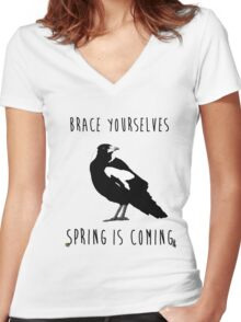 Spring is Coming Women's Fitted V-Neck T-Shirt