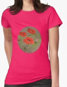 Poppies-3 Womens Fitted T-Shirt