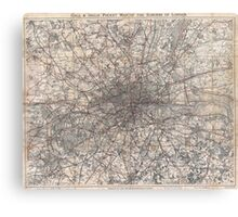 Vintage Map of London England (1900) 2 Canvas Print