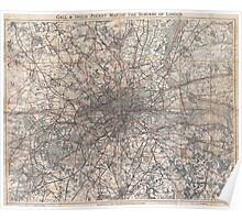 Vintage Map of London England (1900) 2 Poster
